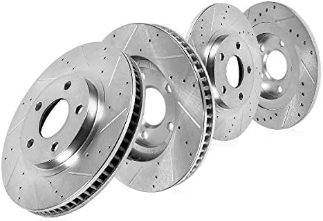 Rear Drilled And Slotted Brake Rotors For 2015 2016 Ford Mustang V6 Eco S550