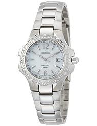 Seiko Womens SXDB59 Coutura Silver-Tone  White Mother Of Pearl Dial 24 Diamonds Watch