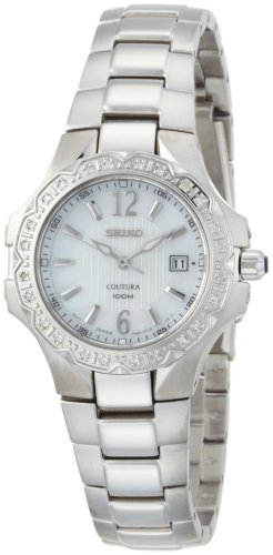 Seiko Women's SXDB59 Coutura Silver-Tone  White Mother Of Pearl Dial 24 Diamonds (Coutura Mother Of Pearl Dial)