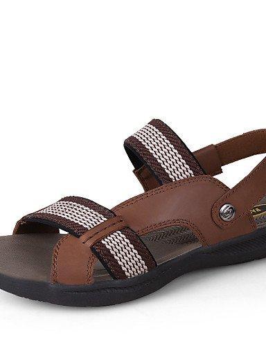 ShangYi Herren Sandaletten Herrenschuhe-Outddor / Lässig-Sandalen-Leinwand / Nappa Leather-Schwarz / Braun / Khaki Brown