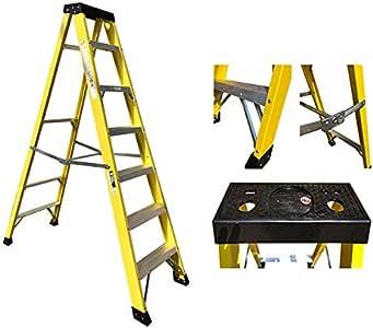 Electricians Heavy Duty Tread EN131 escalera de fibra de vidrio 30000 V – 7 peldaños GRP: Amazon.es: Bricolaje y herramientas