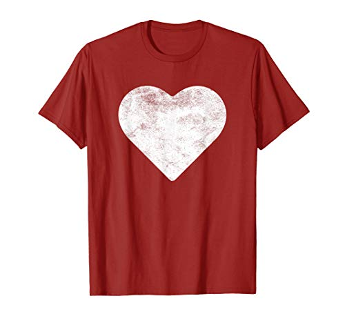 Red Heart Shirt - Cute Heart Valentines Day Red T Shirt Vintage Distressed