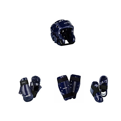 Century Karate 7 pc Sparring Gear Combo Set with shin guards blue child large