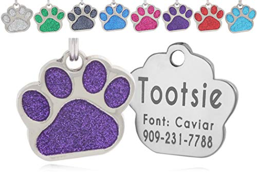 io tags Pet ID Tags, Personalized Dog Tags and Cat Tags, Custom Engraved, Easy to Read, Cute Glitter Paw Pet Tag (Purple) from io tags