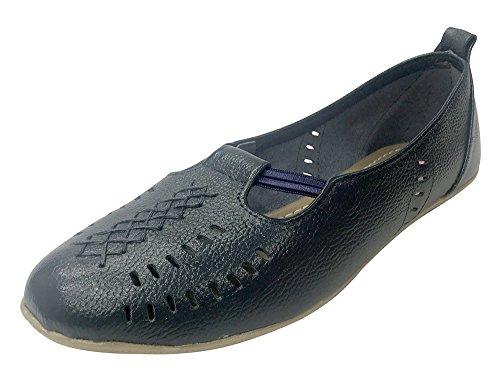Step N Style Ballet De Cuero Genuino Para Mujer Zapatillas De Deporte De Cuero Con Cordones Planos Slip-on Juti Navy