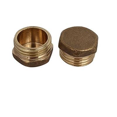 DealMux 1/2BSP Male Thread Brass Hex Head Pipe Cap Cover Fitting 2pcs