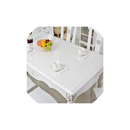 PVC Table Cover Protector Desk Pad Soft Glass Dining Tablecloth Transparent Top Tablecloths Plastic Mat Size,Transparent,90X200Cm