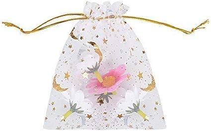 Blanc-1 MEJOSER 100 pcs Sachets en Organza Sac de Sucre Sac /à Bijoux Pochettes Drag/ée Motif /Étoile Lune Impression /à Chaud pour F/ête Mariage Bonbon Chocolat No/ël Anniversaire Cadeaux