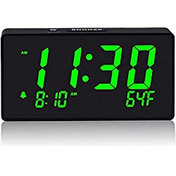 Digital Alarm Clock with Simple Operation, Adjustable Alarm Volume, Full Range Brightness Dimmer, Large 6 Green LED Screen, USB Port for Charging, Temperature, Electric Clocks for Bedrooms, Bedside
