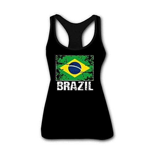 Fhssln Womens Casual Tank Tops Brazil Flag Team Soccer World Cup Workout Yoga Sleeveless Shirt (Brazil Sleeveless)