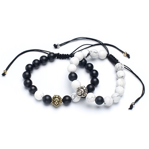 Karseer Distance Bracelet Couples Retro Lion Head Charm Black Matte Onyx White Howlite Stone Beads Mala Relationship Bracelets Set Macrame Adjustable Jewelry Gift for Men and Women