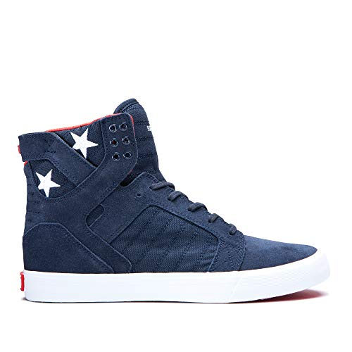 Supra Footwear - Skytop High Top Skate Shoes, Navy/Star-White, 9.5 M US Women/8 M US Men