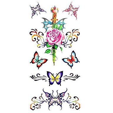 Wholesale 1pc Waterproof Women's Temporary Tattoos Back/Wrist/Neck Tattoos Butterfly Rose Collections Body Tattoos(18.58.5cm) supplier