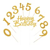 LVEUD Gold Glitter 0-9 Cake Topper and Happy Birthday Cake Topper for 18th-21th-30th-40th-50th-60th-70th-80th-90th Birthday Party Decoration Supplies of Set 21
