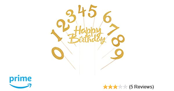 LVEUD Gold Glitter 0 9 Cake Topper And Happy Birthday For 18th 21th 30th 40th 50th 60th 70th 80th 90th Party Decoration Supplies Of Set