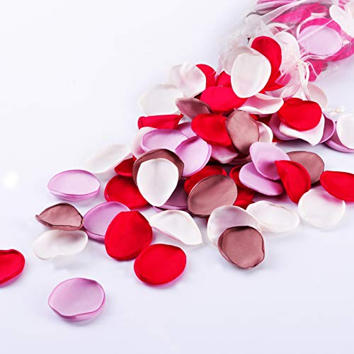 Breeze Talk Artificial Flowers Silk Rose Petals Flower Girl Scatter Petals for Wedding Aisle Centerpieces Table Confetti Party Favors Home Decoration (Red/Pink/Ivory/Blush, 200) - Red Scatter Petals