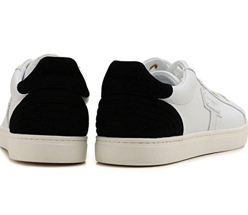 Dolce & Gabbana Sneaker Bassa Lace Up Pelle e camoscio Bianco e Nero CS1494 AB937 89697