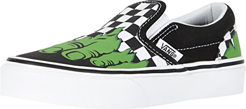 Vans Kids X Marvel Classic Slip-On Skate Shoe (13 M US Little Kid, Hulk/Checkerboard)