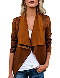 New Womens Casual Long Sleeve Autumn Winter Faux Suede Ethnic Tops Open Front Jacket Coat