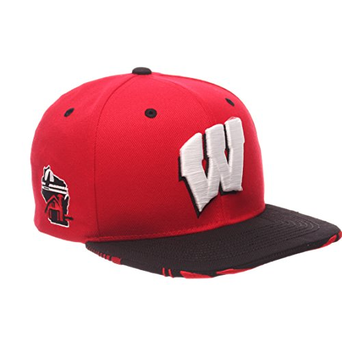 NCAA Wisconsin Badgers Adult Men's Drop Step Snapback Hat, Adjustable Size, Team Color ()