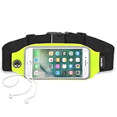 Smartlle Sports Running Workout Belt Fitness Fanny Waist Pack Waterproof Sweatproof Pouch Bag for iPhone 7 6s 7 PLUS Samsung Galaxy Mobiles, with Transparent Touch Screen Window