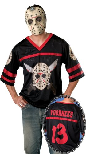 Friday The 13Th, Jason Hockey Jersey And Mask, Black, X-Large Costume