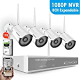 [2019 Newest] Security Camera System Wireless,Safevant 8CH 1080P NVR Wireless Security Camera System(1TB Hard Drive),4PCS 960P Wireless Security Cameras,65ft Night Vision,Plug&Play,NO Monthly Fee