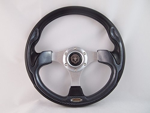 New World Motoring YAMAHA GOLF CART & POLARIS RHINO steering wheel W/Adapter 3 spoke Carbon Fiber (Rhino Steering Wheel)