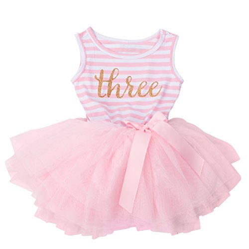 Grace & Lucille Toddler Birthday Dress (3rd Birthday) (Pink Striped Sleeveless, Gold, 3T) by Grace & Lucille