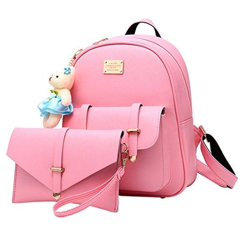 Laptop Big Satchel Female Outdoor Bag Fashion Handbag T Soft for Backpack Mango SchoolBag Pink pXFXcgZ