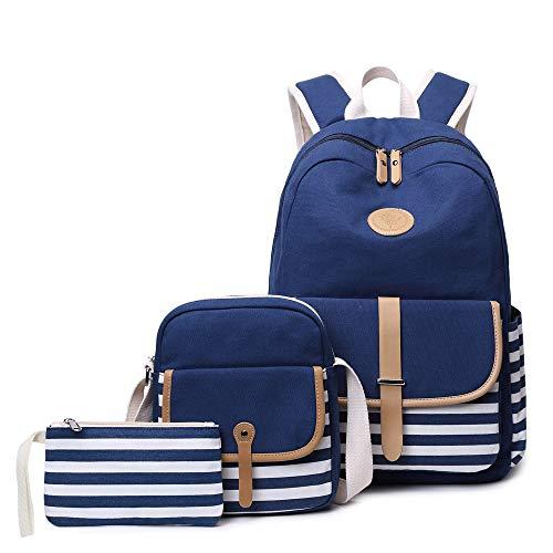 (Canvas Bookbags School, Missals Backpack Laptop Schoolbag Shoulder Duffel Tote Bag for Teens Girls High School Blue)