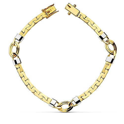 Bracelet bicolor en or 18 carats 19.5cm. de larges liens [AB2272]