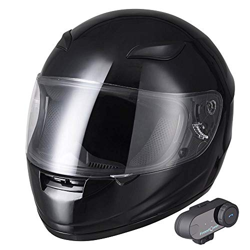 AHR Bluetooth Motorcycle Modular Helmet Full Face with Wireless Headset Hands Free Intercom MP3 FM Radio DOT