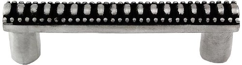Vicenza Designs K1065 Sanzio Lines and Beads Pull, 3-Inch, Antique Nickel (Italian Decorative Hardware Contemporary Pull)