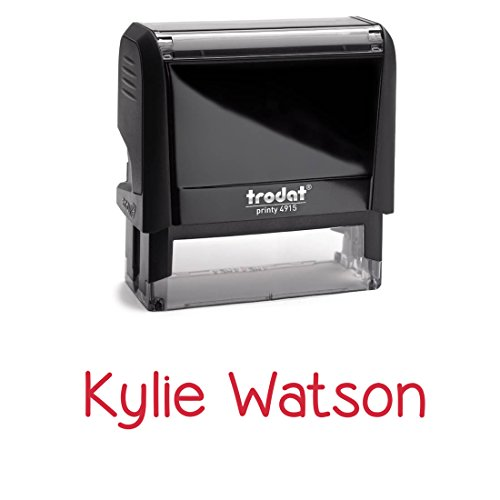 Custom Signature Stamp, Personalized. Self Inking Stamper With Red Ink. Excellent For Bank Deposits Or Labelling Name.