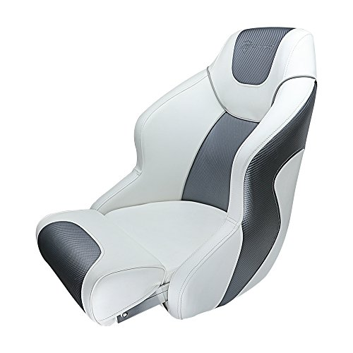 Seamander S1045 Series Premium Bucket Seat,Sport Flip Up Seat, Captain Seat (White/Charcoal)