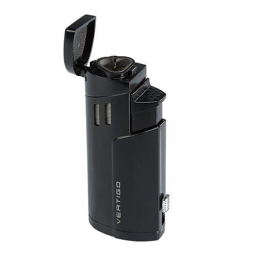 Vertigo Excaliber Triple Torch Flame Lighter w/ Cigar Punch - Black Matte