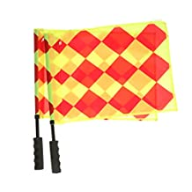 2x Soccer Referee Flag Sports Match Football Linesman Flag Hockey Training Stainless Steel + Nylon