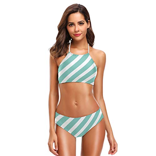ANGEL ON LINE Diagonal Stripes Printing Halter Bikini Set 2 Piece Swimsuit Bathing Suit for Women