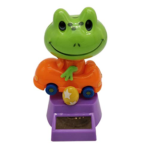 Flameer Solar Powered Bobbing Frog Animal Figure - Fun Solar Science Toy Home Desktop Car Decor Bobbleheads Animal Pet Model