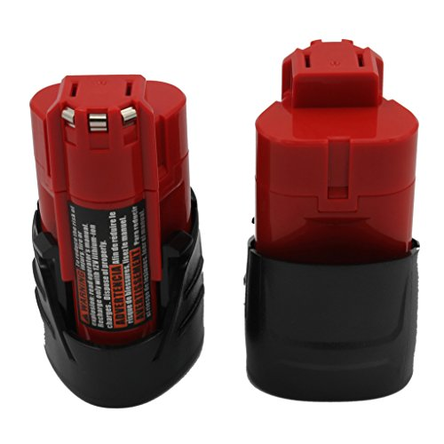 KINSUN 2-Pack Replacement Power Tool Battery 12V 1.5Ah Li-Ion for Milwaukee Cordless Drill Impact Driver M12, 48-11-2401, 48-11-2402, C12 B, C12 BX and More 24 Nibblers