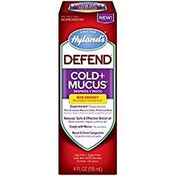 Hyland's Defend Cold Plus Mucus Relief Liquid, Natural Cold Expectorant and Decongestant Medicine, 4 Ounces