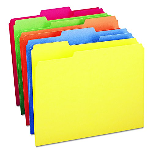 Smead File Folder, 1/3-Cut Tab, Letter Size, Assorted Colors, 100 per Box, (Manila Filing Folders)