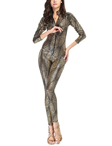 Colorful House Womens Costume Snake Skin Print Front Zipper Cat suit, Black and Gold, Size M for US 2-10 (Cat Snake Costume)