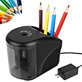 Electric Pencil Sharpener, Power Adapter(Include)/Battery Operated Pencil Sharpener with Pencil Holder,Heavy Duty Blade for Colored Pencils,Essential School Supply for Classroom Office Home