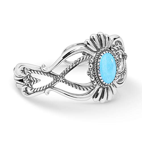 American West Sterling Silver Blue Turquoise Gemstone Floral Petal Cuff Bracelet Size - Sterling Silver Turquoise Navajo Bracelet