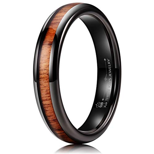 THREE KEYS JEWELRY 4mm Black Tungsten Carbide Wedding Ring for Women with Koa Wood Inlay Domed Wedding Band Engagement Ring Comfort Fit Size 7.5