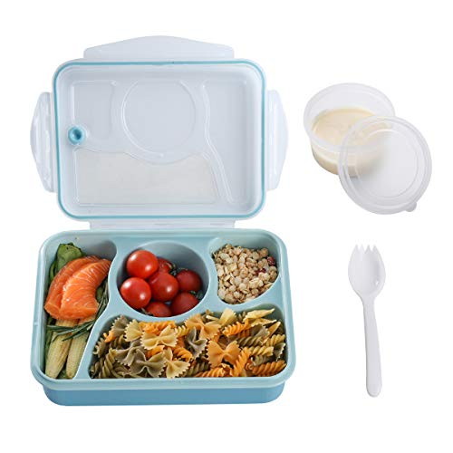 Bento Box.Bento Box for Kids,Lunch Boxes for Adults with 4 Compartments.Kids lunch box with Thermos Bag,Salad Dressing Box. Convenient for Microwave,Leakproof, FDA Approved and BPA Free (BLUE)