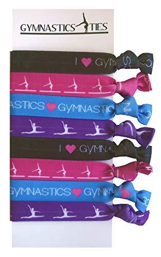 8 Piece Gymnastics Hair Elastic Set - Accessories for Gymnasts, Women, Girls, Gymnastics Teachers and Coaches, Gymnastics Classes - MADE in the USA