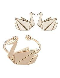 Lovely Animals Rings Handmade Tiny Cute Swan Stud Crane Earring Jewelry Sets for Women Girls Gift Girls Earrings Gold